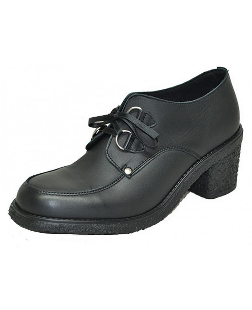 4b9cf490c95e78 Paire de Chaussure compensée noire en cuir grainé avec semelle compensée .  Modèle de Chaussure compensée Steelground pour homme & femme fabriqué sur  ...