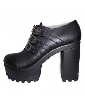 grand choix de 70f06 d2b93 Chaussure compensée noire en cuir vegan Steelground