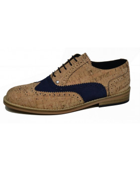 Beige and blue Derby shoe...