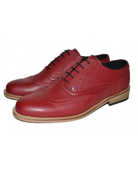 Red Derby shoe in grained...