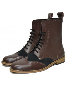 Brown and black boots in...