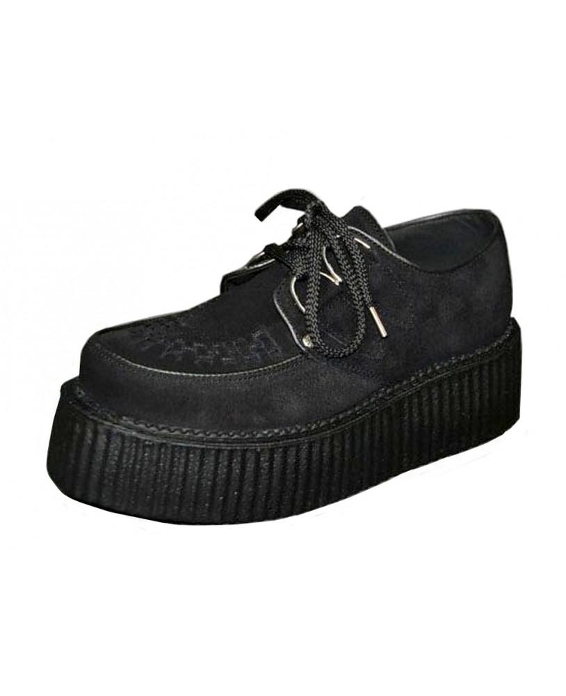 b0605a6e51cd7 Par de zapatos Creepers negra para hombre y mujer con suela doble de 5 cm . Modelo  de Creepers de cuero gamuza Steelground fabricado por encargo.