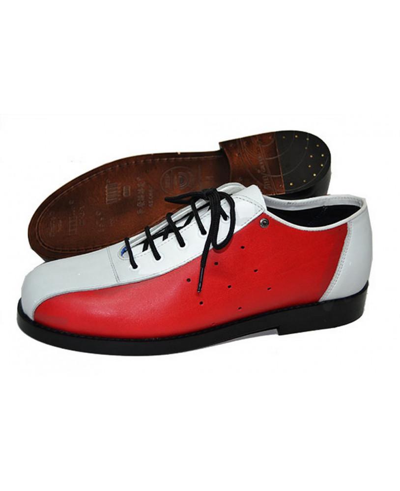 Et Bowling De Rouge Cuir Steelground Blanche Grainé Chaussure VGpUzqSM