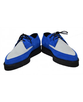 0375c297ce008 Pointed creeper shoe blue and white shoes for unisex with single sole of 3  cm . Pointed creeper shoe model in suede Steelground custom made.