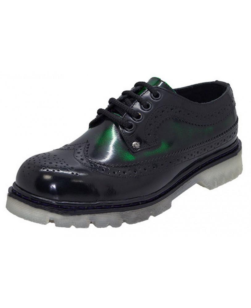 a399b0c934cab Par de Zapato derby verde y negro Steelground de cuero box con suela alta.  Modelo de Zapato derby Steelground para hombre y mujer fabricado por  encargo.