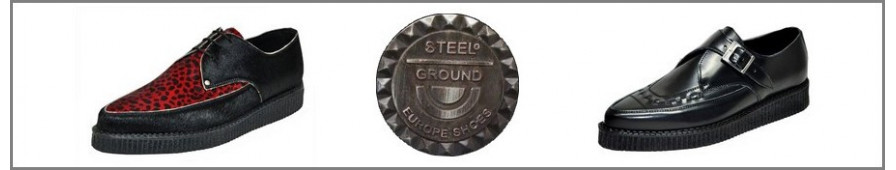 Collezione di Creepers appuntito del marchio Steelground.